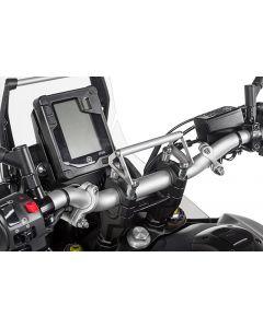 Platine adaptatrice pour montage GPS sur bride de guidon avec vis spéciales pour rehausse du guidon 20 mm, Yamaha Tenere 700 pour systèmes de navigation